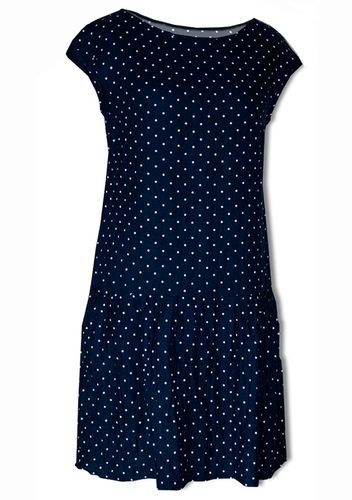 Blue linen dress w/ white dots