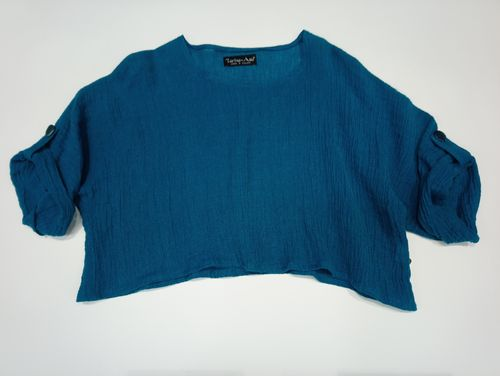 Linen top turquoise