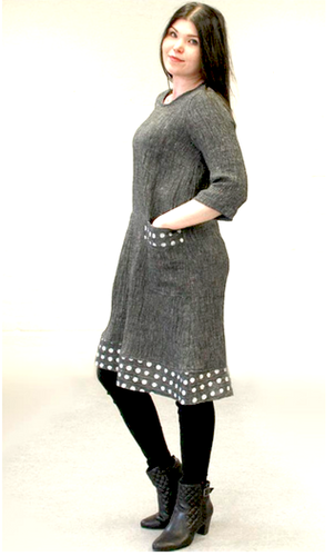 Grey Hilma dress with white dots