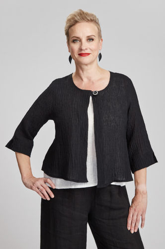 Short black linen jacket