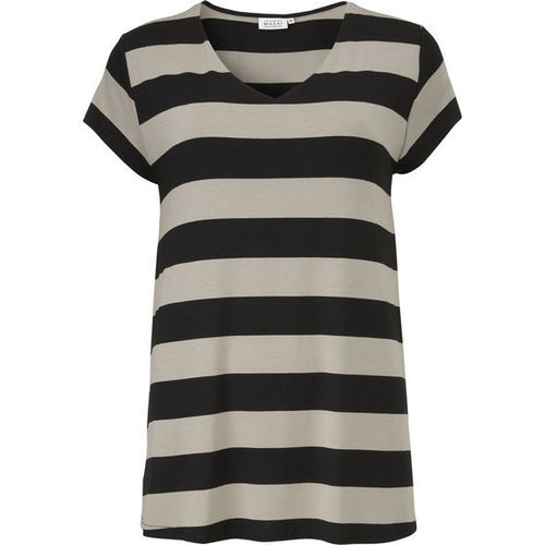 Digna top khaki black stripes